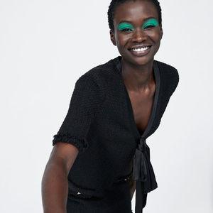 998cdcd9 Zara Dresses | Nwt Tweed Black Bow Mini Dress | Poshmark